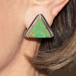 Navajo Sterling Silver KRS Turquoise Earrings